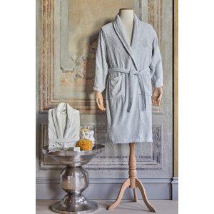 купить Набор халат с полотенцем Karaca Home Eldora Offwhite-Gri 2020-2 Кремовый Серый фото