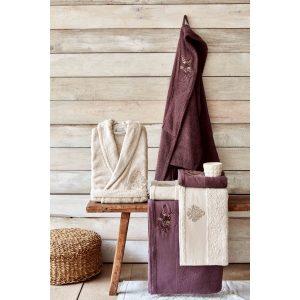купить Набор халат с полотенцем Karaca Home Fronda Murdum-Bej Фиолетовый Бежевый фото