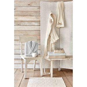 купить Набор халат с полотенцем Karaca Home Fronda Offwhite-Gri Кремовый Серый фото