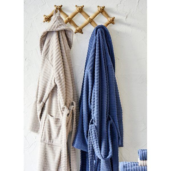 купить Набор халат с полотенцем Karaca Home Infinity vizon-lacivert 2020-1 Синий Бежевый фото