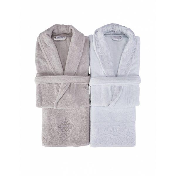 купить Набор халат с полотенцем Karaca Home Novela 2018-2 tiffany Белый Бежевый фото