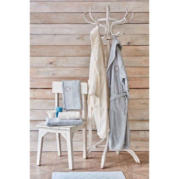 купить Набор халат с полотенцем Karaca Home Silvio offwhite-s.yesil Кремовый|Ментоловый фото