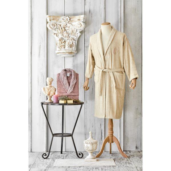 купить Набор халат с полотенцем Karaca Home Valeria G.kurusu 2020-2 Розовый|Бежевый фото