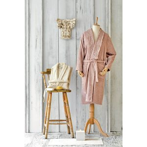 купить Набор халат с полотенцем Karaca Home Valeria Rose-Gold 2020-2 Розовый Бежевый фото