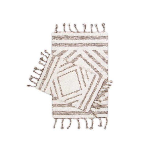 купить Набор ковриков Irya Hoover kahverengi-ekru 60*90|40*60 Кофейный|Бежевый фото
