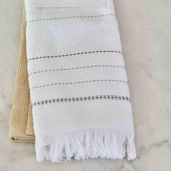 купить Набор кухонных полотенец Karaca Home Alisa gri 60*40 2шт Белый Бежевый фото