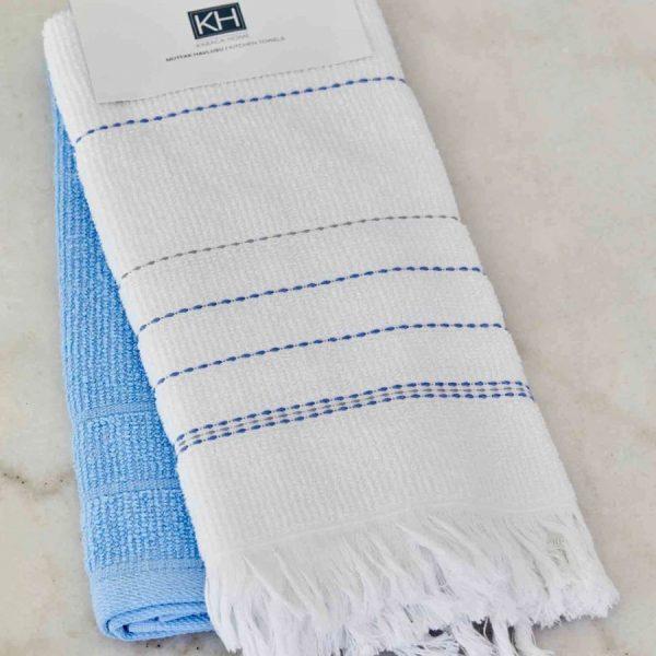 купить Набор кухонных полотенец Karaca Home Alisa mavi 60*40 2шт Белый|Голубой фото