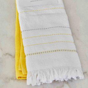 купить Набор кухонных полотенец Karaca Home Alisa sari 60*40 2шт Белый|Желтый фото