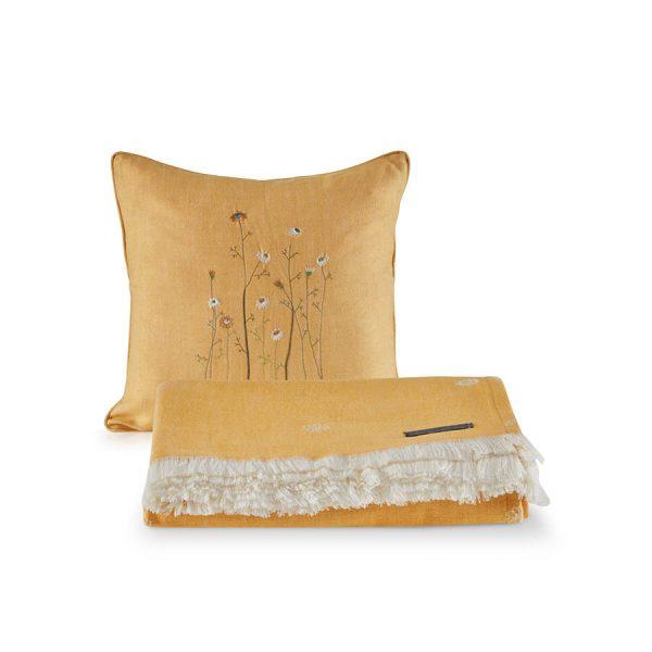 купить Покрывало пике с подушками Penelope Daisy Желтый фото