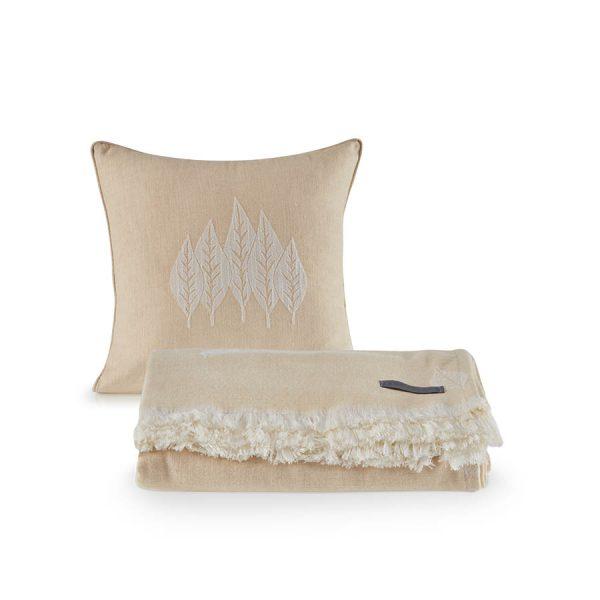 купить Покрывало пике с подушками Penelope Nature Бежевый фото