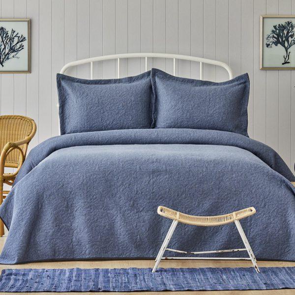 купить Покрывало с наволочками Karaca Home Tresna indigo Синий фото