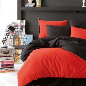 купить Постельное белье Eponj Home Paint Mix Kirmizi-Siyah Оранжевый Черный фото