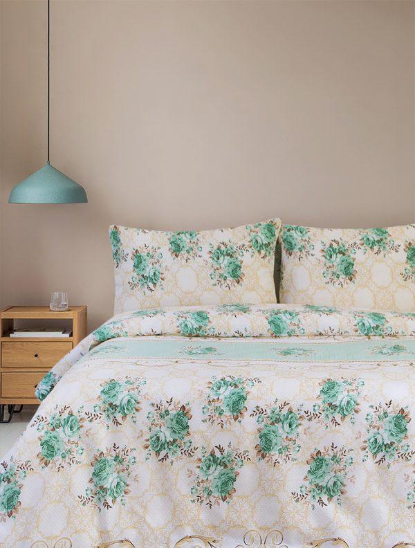 купить Постельное белье Iris Home Ranforce Tracery Зеленый|Бежевый Зеленый|Бежевый фото