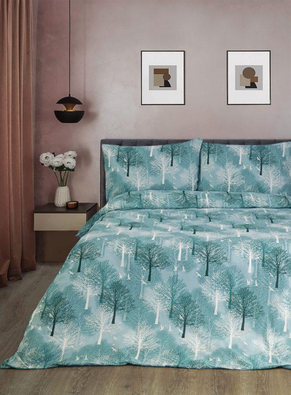 купить Постельное белье Iris Home Ranforce Wood зеленый Ментоловый Ментоловый фото