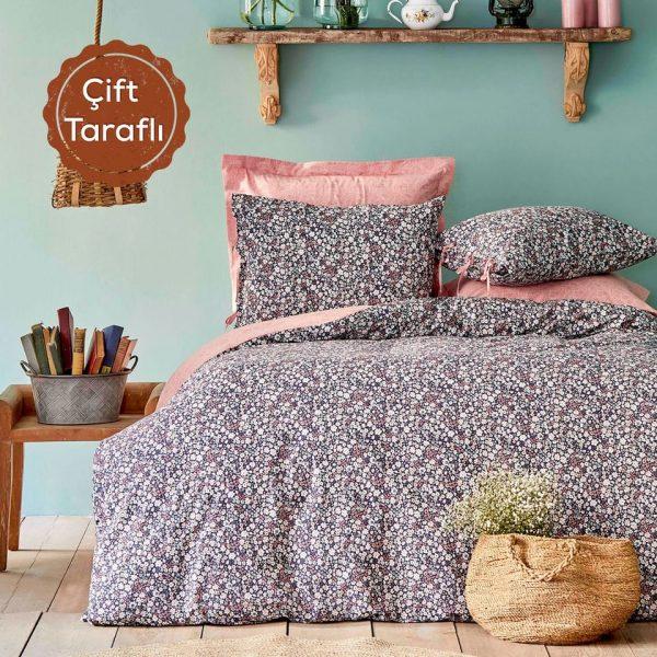 купить Постельное белье Karaca Home Flori somon Розовый Серый фото