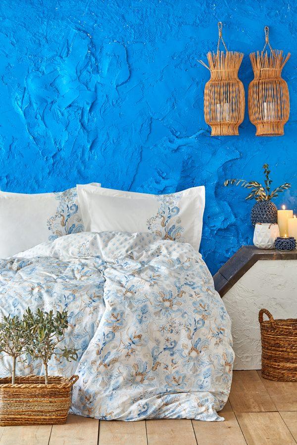 купить Постельное белье Karaca Home ранфорс Charlina mavi 2020-2 Голубой фото