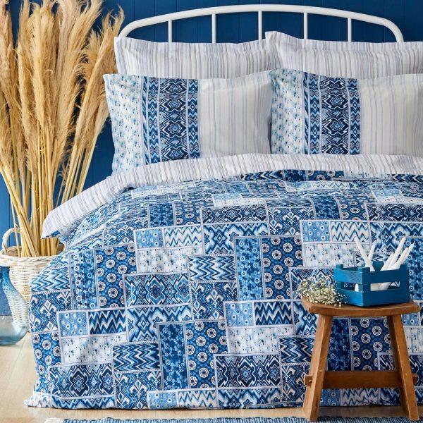 купить Постельное белье Karaca Home ранфорс Pietra mavi Синий фото