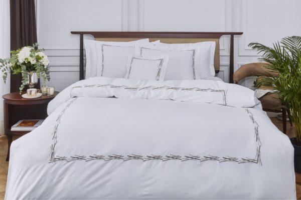 купить Постельное белье MieCasa сатин Florida antrasit-gri Белый фото