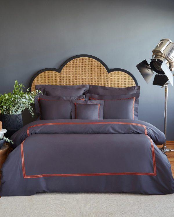 купить Постельное белье MieCasa сатин Milano antrasit king size Серый|Черный фото