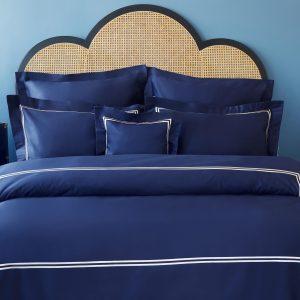купить Постельное белье MieCasa сатин Milano lacivert-bej Синий фото