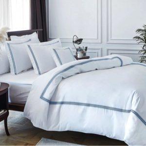 купить Постельное белье MieCasa сатин Milano yesil Белый фото