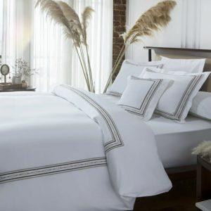купить Постельное белье MieCasa сатин Soho lacivert-kirmizi Белый фото