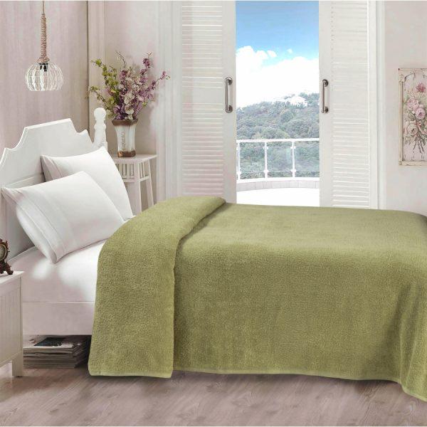 купить Простынь Iris Home махровая Green olive Зеленый фото