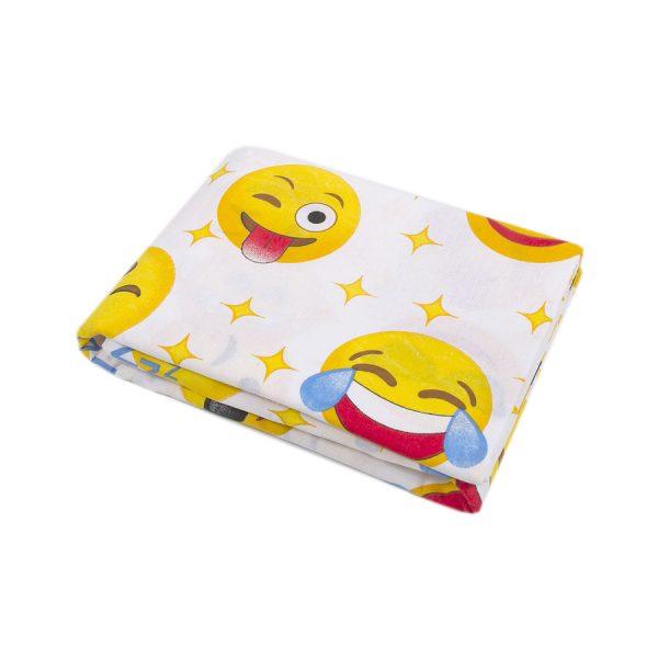 купить Простынь Iris Home ранфорс для подростков Emoji желтый 150*210 Желтый фото